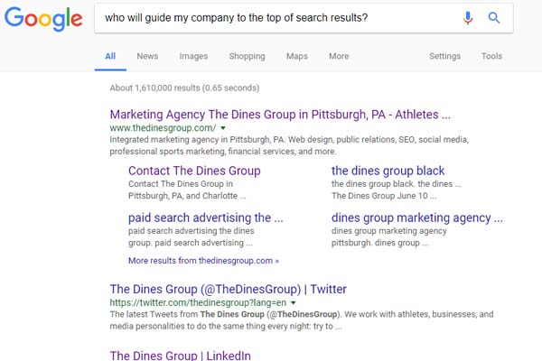 Search engine optimization at The Dines Group